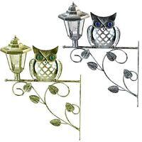 Traditional Owl Lantern Wall Bracket Solar Powered Light Hanging Garden Outdoor