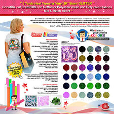 "6 YARDS HEAT TRANSFER VINYL 20"" SISER GLITTER-CricutDie,CraftROBO,Cotton/Polyest"