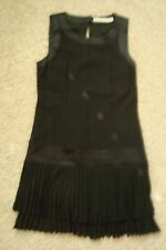 KAREN MILLEN BEAUTIFUL ROARING 20'S BLACK PLEATED FLAPPER STYLE DRESS US-6  NWOT