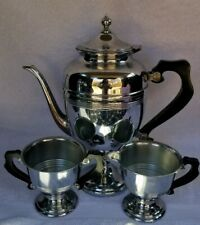 Vintage Chrome and Bakelite Coffeepot, Creamer, Sugar Set