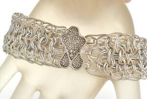 "Fine 999 Silver Chainmail Bracelet Signed GKD Handmade Vintage Jewelry 7.25"""