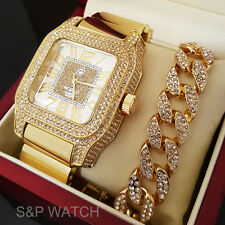 Mens Luxury Iced Out Rapper Bling Gold plated WATCH & Cuban Bracelet Gift Set