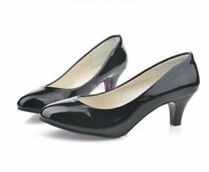New Faux Patent Leather Low Heel Dress Office Lady Womens Pumps Shoes Size US 8