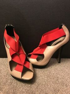 Zahra Beige/Cream/Red Women Ladies Used Shoes Size 5 (38) pre-owned
