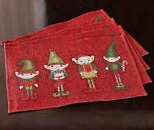 """Elf Elves Tapestry Placemats 13"""" x 19""""  Set of 4 New"""