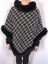 NEW Poncho Black Luxurious Faux Fur Collar & Trim Boucle Softest Feel Fits 14-20
