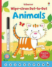Usborne Wipe Clean Dot to Dot Animals with Pen NEW