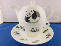 PANDA  TEA FOR ONE, by ROY KIRKHAM, Fine Bone China, Made in England.