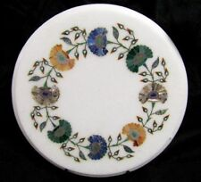 """12"""" Marble Side Coffee Table Top Lapis Floral Rare Inlay Patio Decor"""