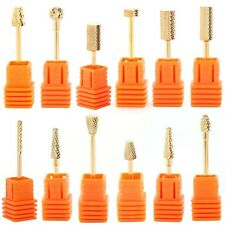 Gold Electric Cylinder Carbide File Drill Bit Nail Art Manicure Pedicure Tool