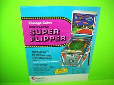 Chicago Coin SUPER FLIPPER 1975 Original NOS 1st Video Pinball Machine Flyer