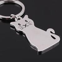 For Women New Gift Fashion Art Design Car Keyring Metal Keychain Cat Shaped