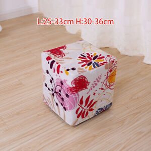Square Round Elastic Chair Seat Cover Stool Covers Ottoman Cushion Sleeve Decor
