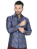 Camisa Casual M/ Larga Centenario 100% Polyester Azul/Oro ID 41719