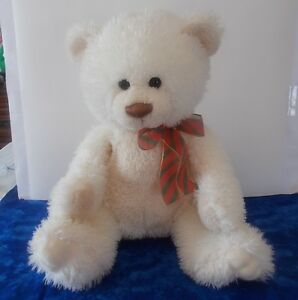 White Cream Aurora Soft Fluffy Bear with Red and Green Ribbon 11 1/2""