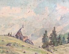 Vtg Original Watercolor Painting By Hermann Kauschke German Artist.Cabin In Alps