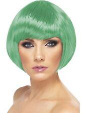 Verde Peluca Bob Corto con flecos mujer accesorio para disfraz