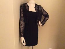 CARMEN MARC VALVO ELEGANT SLEEVLESS LITTLE BLACK DRESS W LACE BEADED JACKET-SZ 6