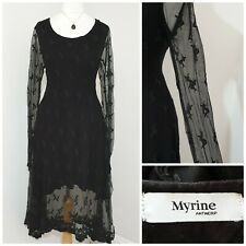 MYRINE ANTWERP Dress Size Small Black Lace Crochet Long Sleeves Gothic Style