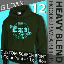12 Custom Screen Printed Hooded Sweatshirts 1 color,1 location, sizes S-XL