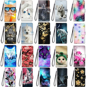 Hot Cute Cat Flip Wallet Bracket Phone Case Back Cover For Huawei Y5 Y6 Y7 Y8 Y9