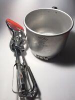 Vintage Foley Flour Sifter Aluminum 5 Cup & Vintage Hand Held Egg Beater