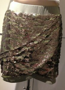 Ladies green wrap skirt with gold sequins size 16 ELLOS
