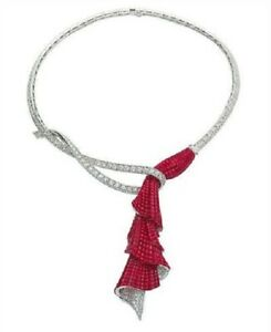 Ruby Invisible-set Necklace 925 Sterling Silver Princess-cut White Round Fine CZ
