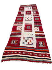 Antique Moroccan Kilim, Decorative Vintage Runner Kilim, Wool Kilim, Area Rug