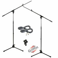 GRIFFIN Microphone Boom Arm Stand 2-PACK Holder XLR Cable Mic Clip Studio Stage
