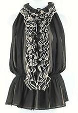 Neiman Marcus for Target M Black Taupe Chiffon Nylon Ruffles Polyester Top I213