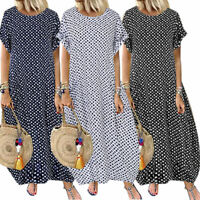 Womens Spotted Round Neck Short Sleeve Baggy Long Maxi Dress Plus Size Dresses