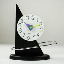 Pendel Tisch Uhr Memphis Design Stil Blech Vintage Quartz Clock 80er Jahre