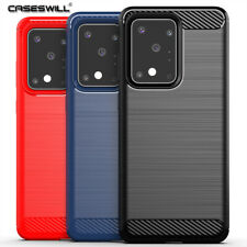 For Samsung Galaxy S20 Ultra Plus 5G Slim Carbon Fiber TPU Protective Case Cover