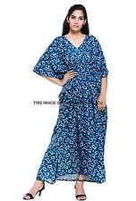 Caftan Cotton Indigo Blue Festival Top Cape Tunic Kaftan Cover Up Plus Size Gown