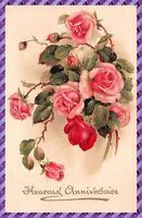 Carte Postale Fantaisie - Bouquet de roses