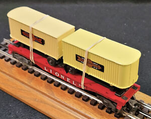 Lionel Trains Rolling Stock Post War Car #3640 2 Trailers Flat Freight Car (833)