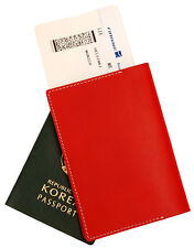 Whole leather passport holder case Red cover wallet credit card protect travel
