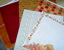 "Lot #17 6 Sheets Printed 12"" x 12"" Paper Thanksgiving Autumn Fall Scrapbook"