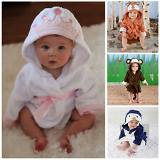Cartoon Animals Infant Blanket Baby Girl Boy Hooded Bath Towel Wrap Bathrobe UK