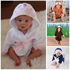 Cartoon Animals Infant Blanket Baby Girl Boy Hooded Bath Towel Wrap Bathrobe UK