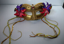 Gold Masquerade Mask Floral  Flower Corsage Fancy Dress Mask Ball Party