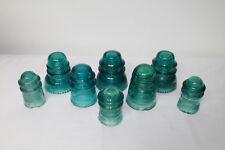 Lot of 8 HEMINGWAY Glass Blue Green Insulators Mixed lot