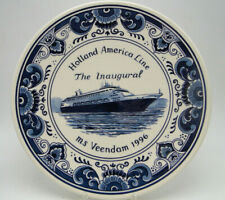 Blue Delft Plate Holland American Inaugural MS Veendam 1996 Royal Goedewaagen