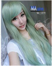 Fashion Women Lolita Wig Long Light Green Straight Hair Full Wigs Cosplay+Cap