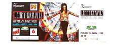 LENNY KRAVITZ ticket complet avec souche concert du mardi 16 novembre 1993 Paris