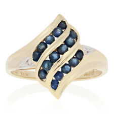 .80ctw Round Cut Sapphire Bypass Ring - 14k Yellow Gold Diamond Accents