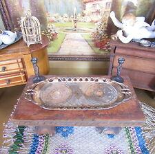 Antique 30s ART DECO TEA TRAY Dollhouse Miniature Copper Metal Vtg 1930s JAPAN