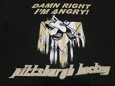 Vintage NHL Pittsburgh Hockey Penguins Black T Shirt Adult Mens XL  I'm Angry