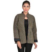 Reversible Quilted Coat Block Print Cotton Women Jacket